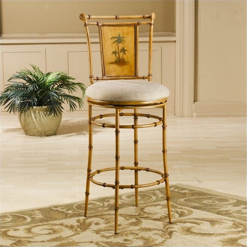 "Bowery Hill 26"" Swivel Counter Stool in Bamboo"