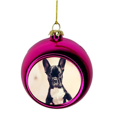 French Bulldog Christmas Ornament.Ornament Dog French Bulldog Puppy Bauble Christmas Ornaments Pink Bauble Tree Xmas Balls
