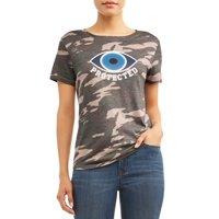 "Sofia Jeans ""Protected"" Camo Crewneck Graphic Tee Women's"