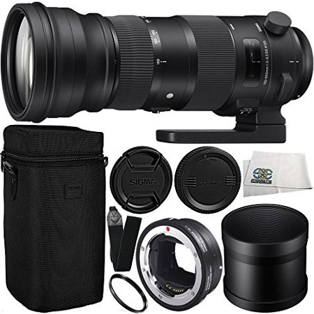 Sigma 150-600mm f/5-6.3 DG OS HSM Sports Lens for Canon EF & MC-11 Mount Converter/Lens Adapter (Canon EF-Mount to Sony E) 9PC Bundle Includes Manufacturer Accessories + Heavy Duty Monopod (Lens Mount Adapter Ring)