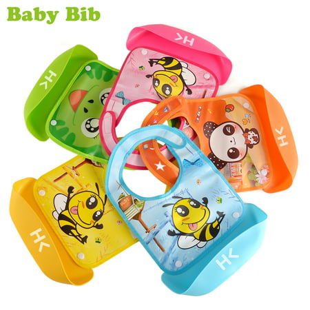 2pcs Portable Detachable Waterproof Toddlers Baby Bibs w  Big Pocket BPA  Free Easily Clean Comfortable 5 Colors - Walmart.com 0bacb899de9a