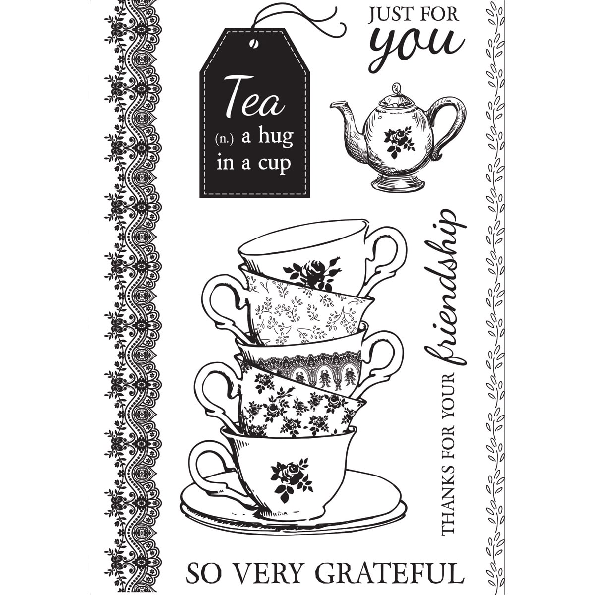 "High Tea Clear Stamps, 6"" x 4"""