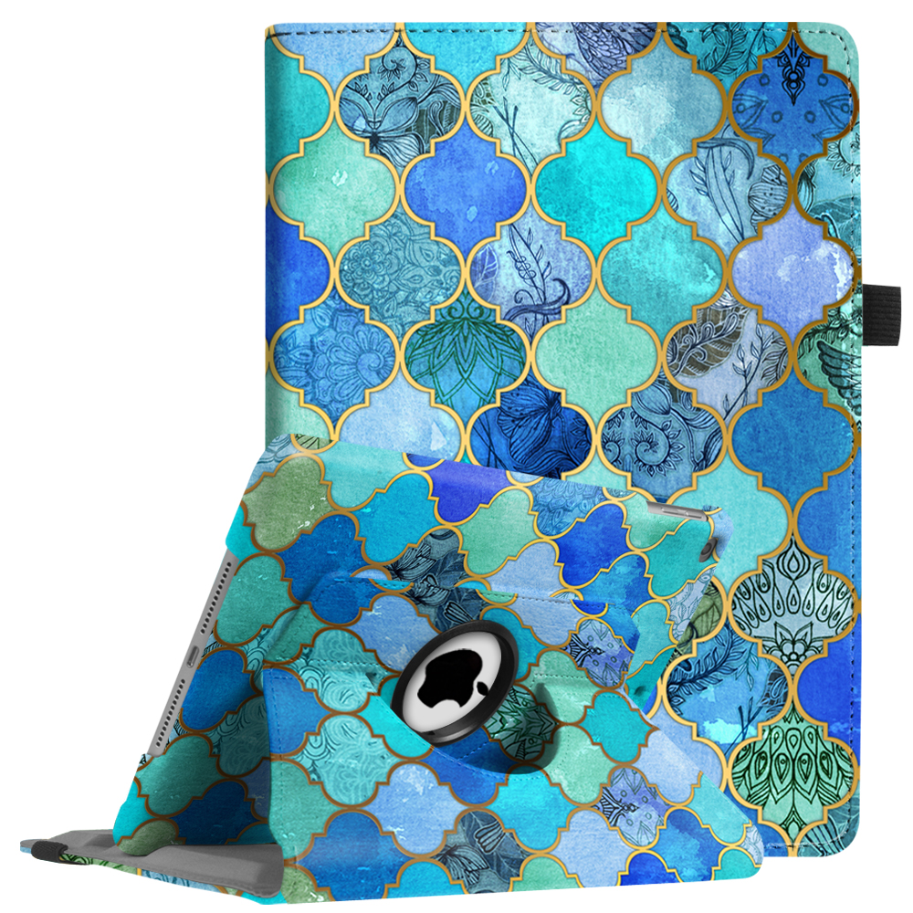 Fintie iPad 6th / 5th Gen, iPad Air /Air 2 Case - 360 Degree Rotating Stand Cover with Auto Sleep Wake, Cool Jade