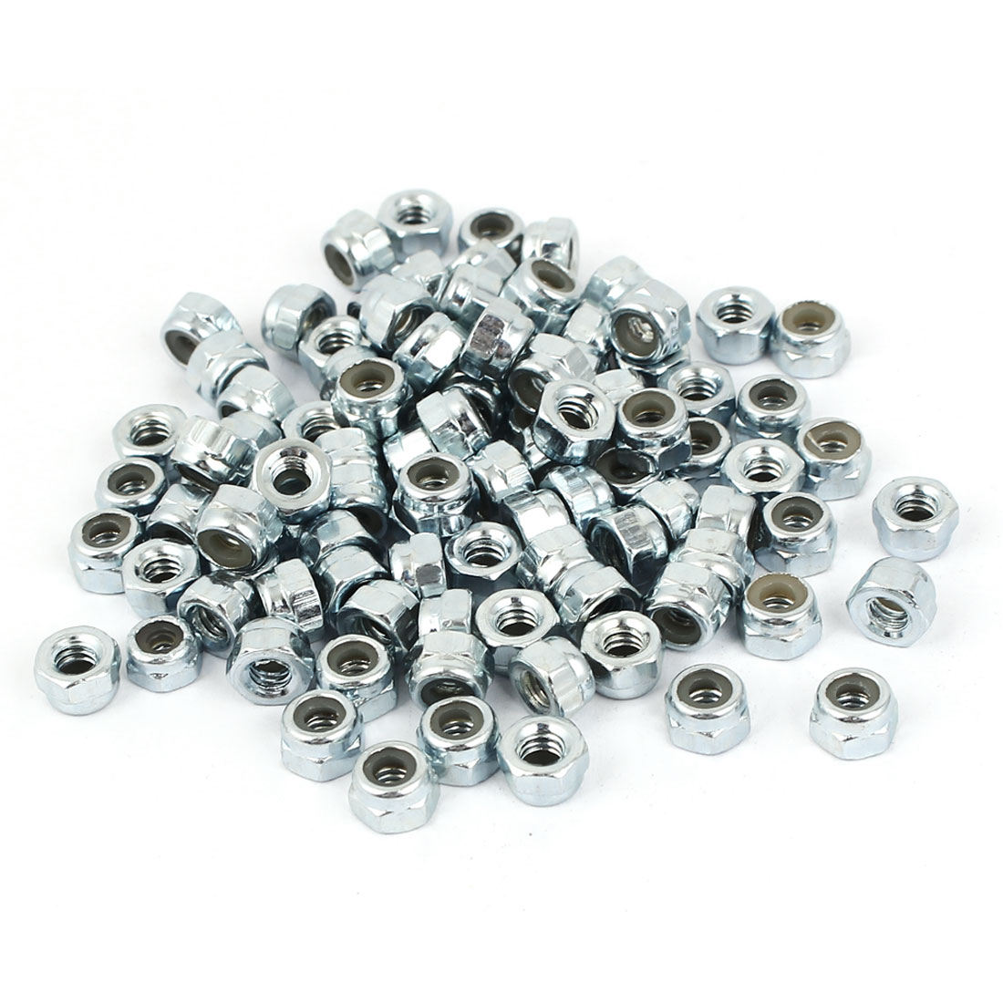"5/32""-32 Zinc Plated Self-Locking Nylon Insert Hex Lock Nut 100pcs"