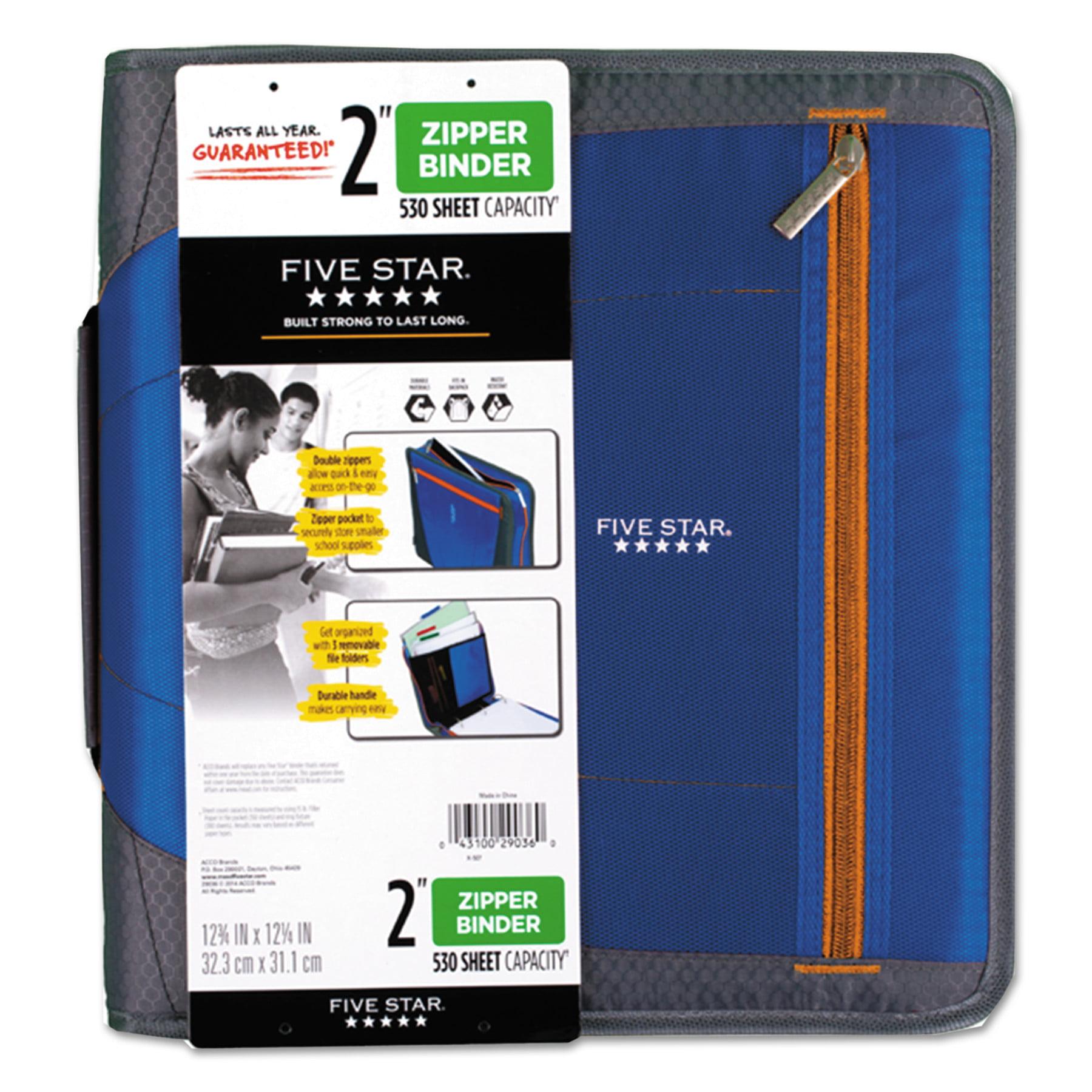 """Five Star Zipper Binder, 11 x 8 1/2, 2"""" Capacity, Blue"""