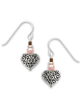7bfeb839d5c4 Product Image Heart Charm Drop Earrings with Scroll Work   Pink Bead Made  in the USA by Sienna. Sienna Sky