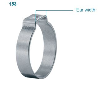Clamp ID Range 13.8 mm Open - 16 mm Closed Oetiker 15300027 Stepless Ear Clamp One Ear Pack of 100