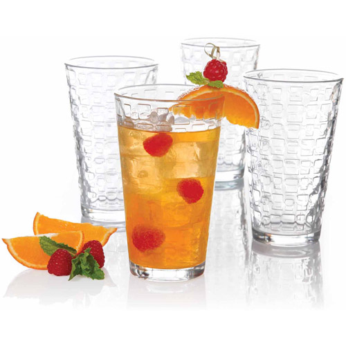 Gibson Home Cali Squares 16oz Glass Tumbler Set, 4pk