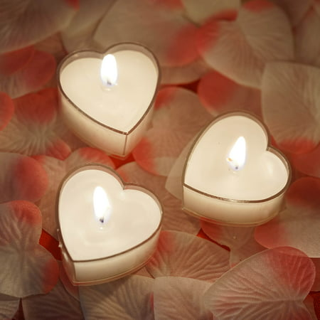 BalsaCircle 12 pcs Wedding Heart Votive Tealight Candles - Party Birthday Event Centerpieces Home Decorations Wholesale Supplies - Heart Shaped Candles