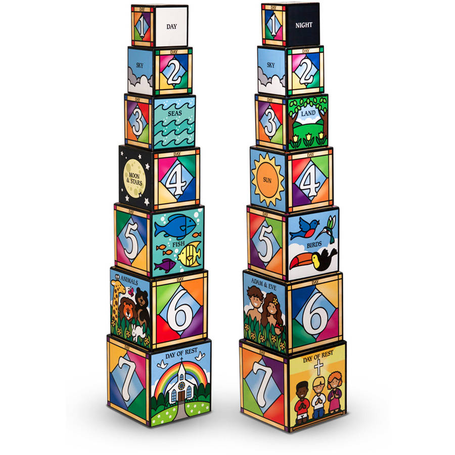 Melissa & Doug Days of Creation Stacking and Nesting Blocks With Convenient Rope-Handled Storage Box 7 Blocks... by Melissa %26 Doug
