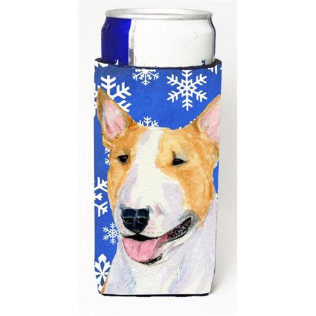 Carolines Treasures SS4634MUK Bull Terrier Winter Snowflakes Holiday Michelob Ultra bottle sleeves for slim cans 12 oz. - image 1 de 1