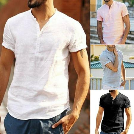 Luxury Men's Short Sleeve V-neck Loose Linen T-shirt Dress Shirt Blouse Tops