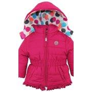 Pink Platinum Toddler Girl Colorful Coat Big Polka Dots Lined  Winter Puffer Jacket
