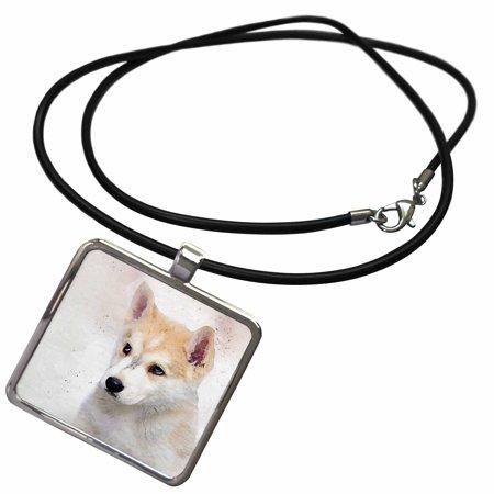 Alaskan Malamute Jewelry (3dRose Watercolor Puppy of an Alaskan Malamute Sled Dog - Necklace with Pendant)