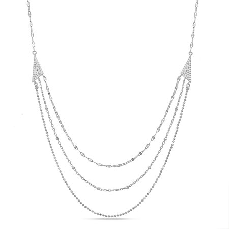 Cubic Zirconia Layered Necklace in Sterling Silver (Layering Necklace)