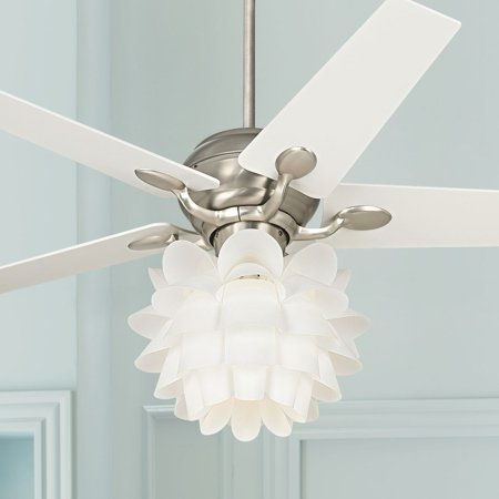 52 Casa Vieja Modern Ceiling Fan With Light White Flower Brushed Steel For Living Room Kitchen Bedroom Family Dining