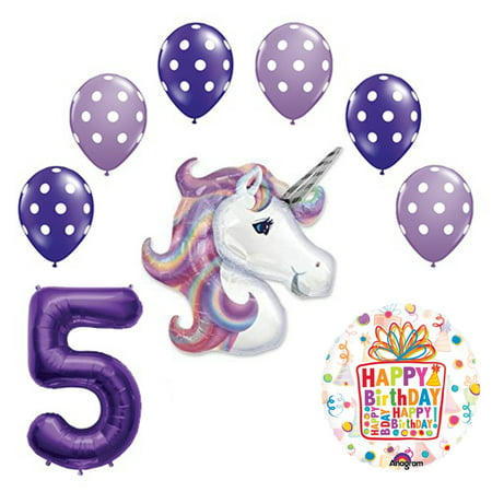 Lavender Unicorn Polka Dot Latex Rainbow 5th Birthday Party Balloon supplies and decorations (Polka Dot Birthday Supplies)