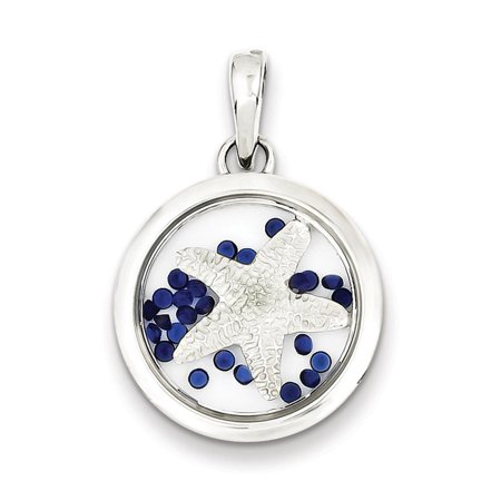Sterling Silver Star Fish and Floating Glass Beads Pendant