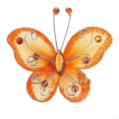 Flower Butterfly Glitter (organza nylon glitter butterflies, 3-inch, 12-piece, orange )
