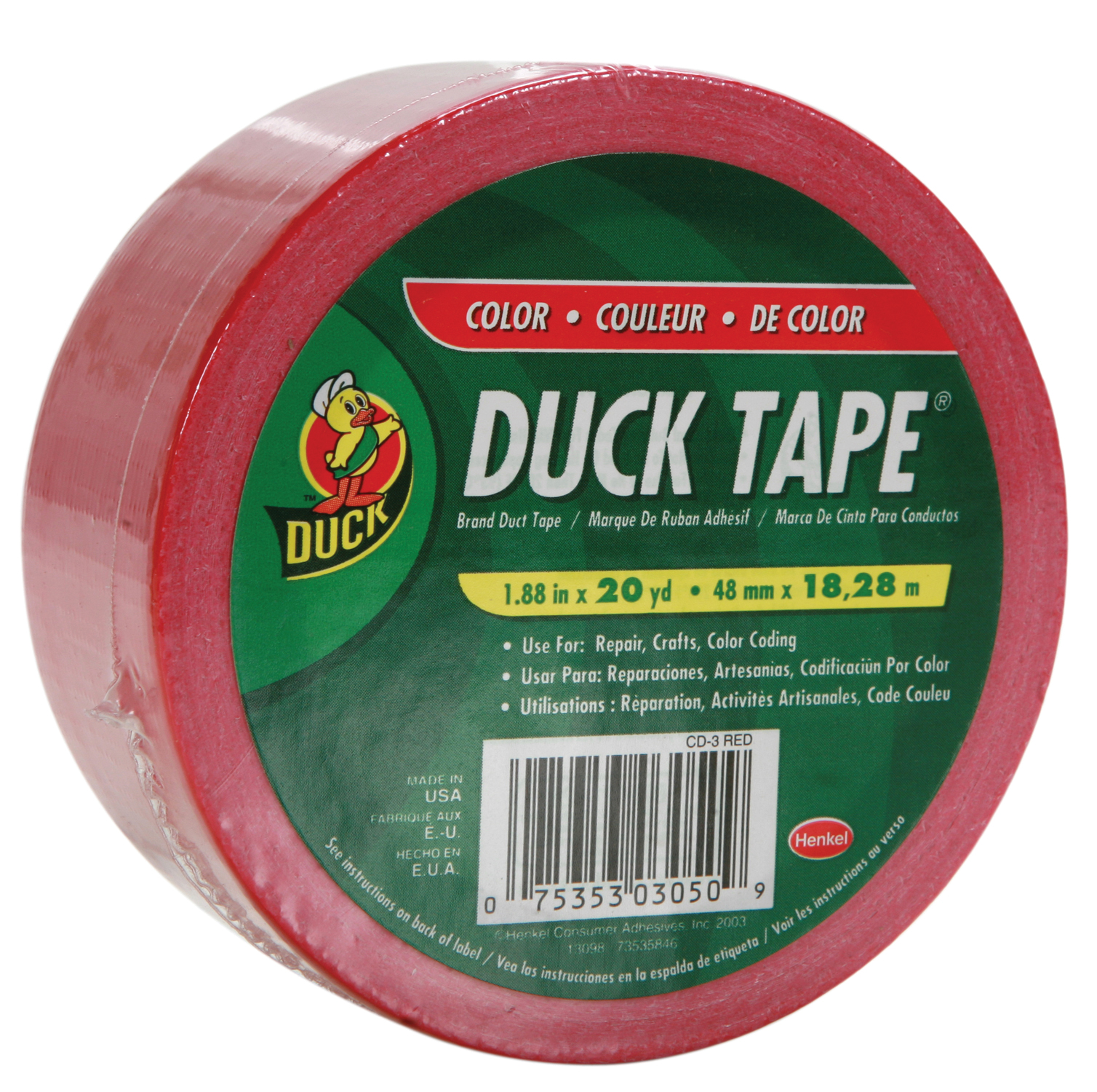 "Duck Brand Duct Tape, 1.88"" x 20 yard, Red"