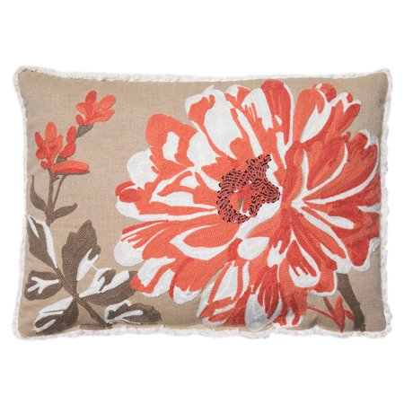 Better Homes and Gardens Bold Bloom Accent Pillow, Coral, 14