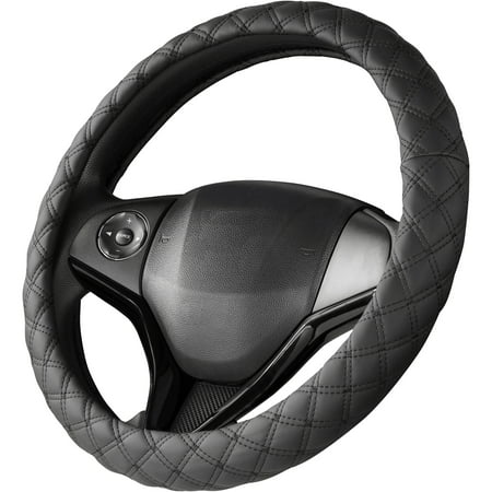 Auto Steering Wheel Cover - Auto Drive Black with Diamond Quilted Stitching Universal Fit Steering Wheel Cover
