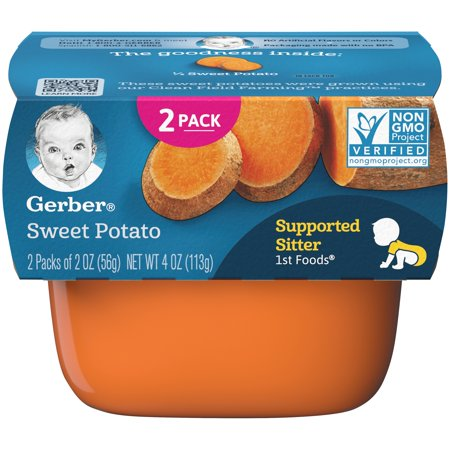 Gerber 1st Foods Sweet Potato Baby Food, 4 oz. Sleeve (Pack of 8)