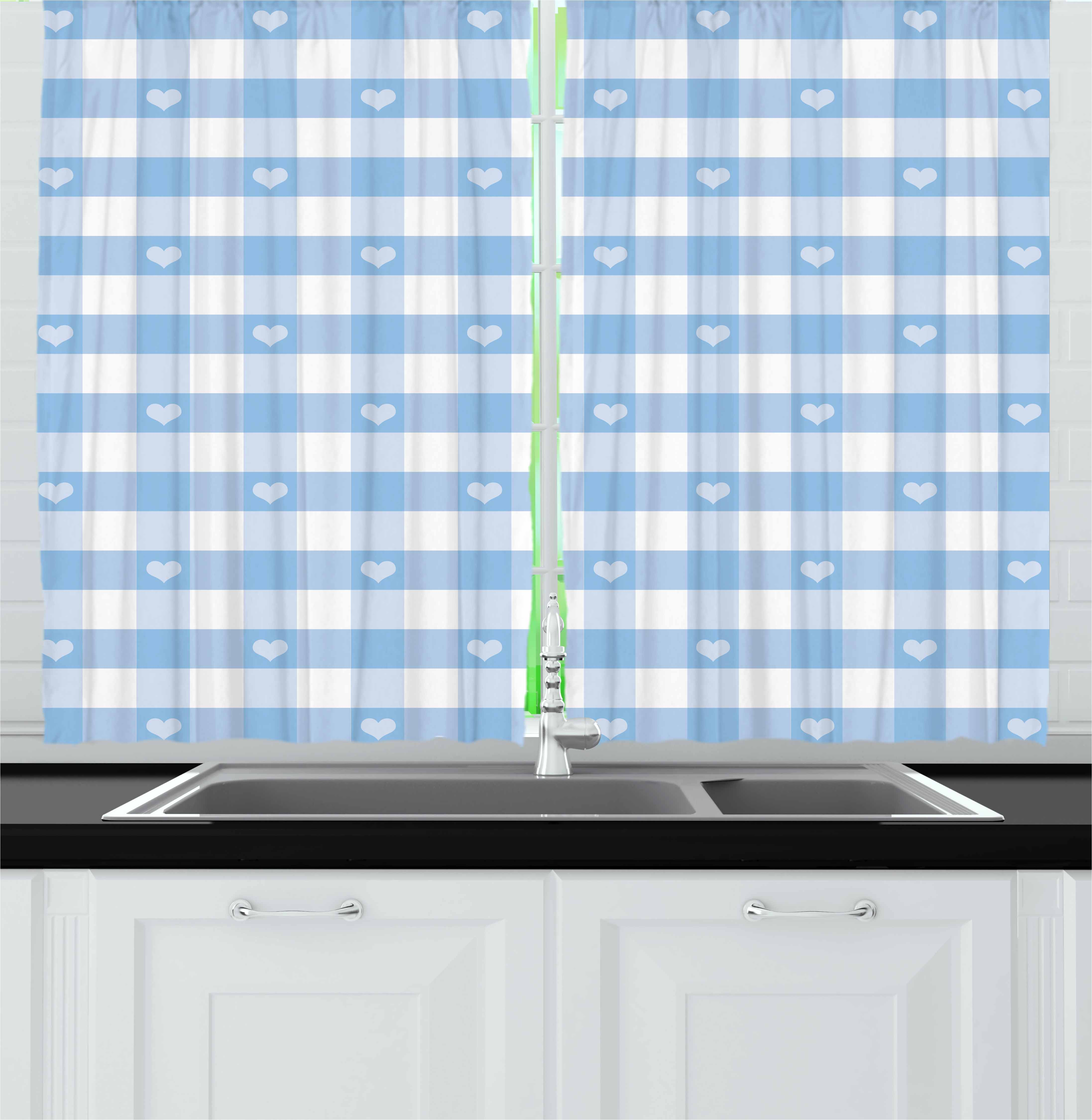 Checkered Curtains 2 Panels Set, Gingham Motif with Cute Little Hearts Pastel Blue Baby Shower Kids Theme, Window Drapes for Living Room Bedroom, 55W X 39L Inches, Pale Blue White, by Ambesonne