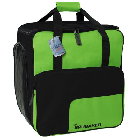 Ski Boot Bag Backpack SuperFUNCTION 2.0 Holds Complete Set Of Ski or Snowboard Equipment incl. Helmet! BRUBAKER - 43 l - apple green / black