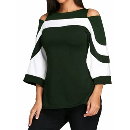 (Slim Fit Crew Neck 3/4 Bell Sleeve Cold Shoulder Tops For Women)
