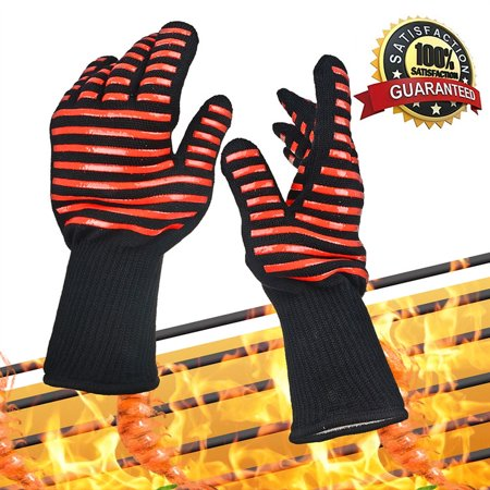 PKPOWER bbq & ove gloves are extremely flame & heat resistant barbecue mitts with silicone fingers for grilling, fireplace or kitchen oven - en407 rated to 932 fahrenheit