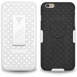 Bb Shell Set - Premium Shell Holster Combo Slim Shell Case Built in Kickstand + Swivel Belt Clip Holster for iPhone 6 Plus, iPhone 6s Plus - White/ Black