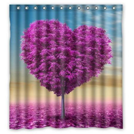 GreenDecor Beautiful Purple Love Heart Tree Art Waterproof Shower Curtain Set with Hooks Bathroom Accessories Size 66x72 inches ()