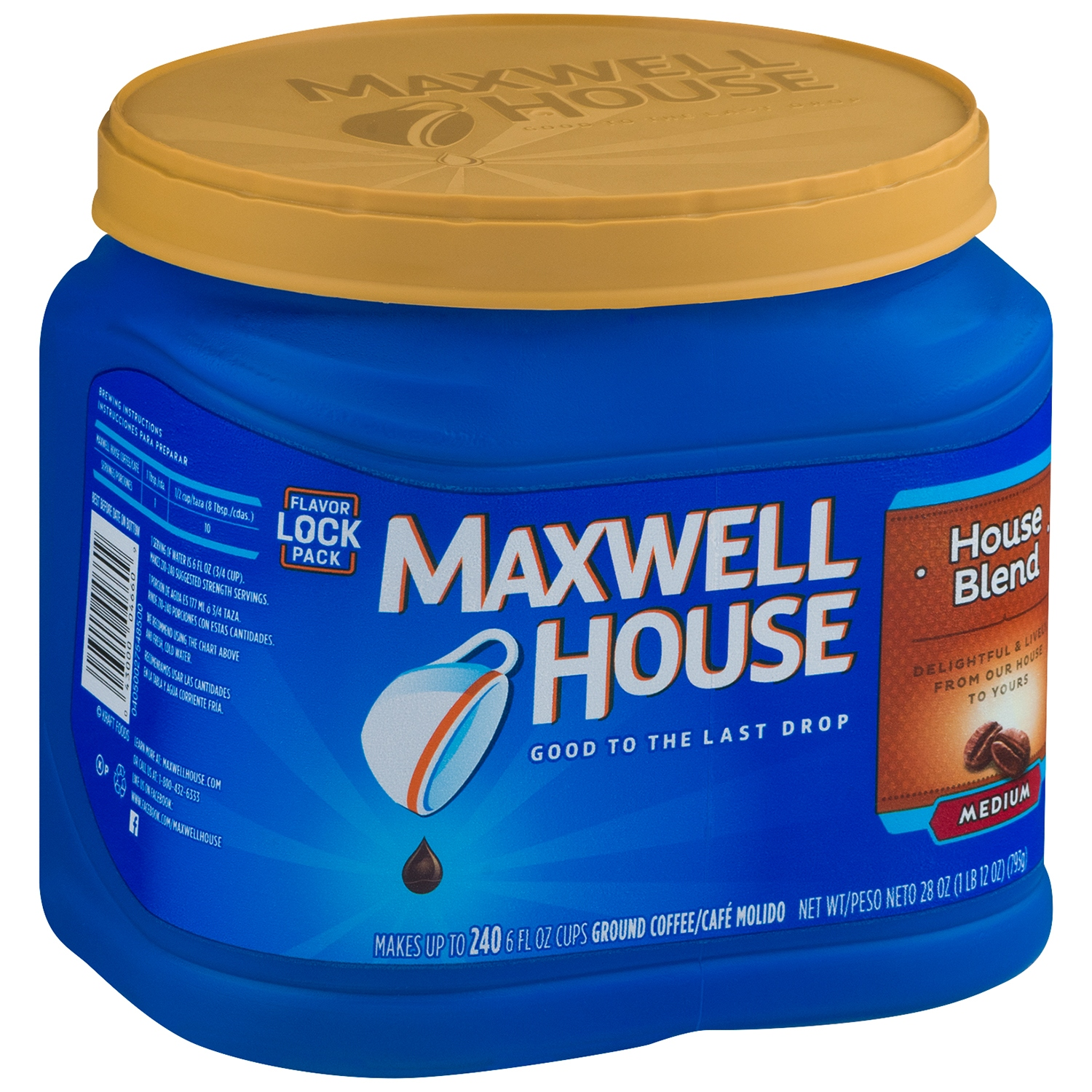 Maxwell House House Blend Medium Roast Ground Coffee, 28 OZ (793g) Tub