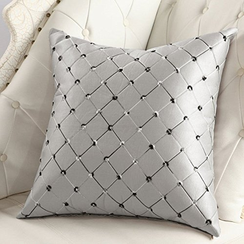 Home Sofa Bed Decor Multicolored Plaids Throw Pillow Case Square Cushion Cover Silver... by