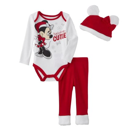 Infant Girls Holiday Cutie Baby Outfit Red Minnie Mouse Santa Suit & Hat