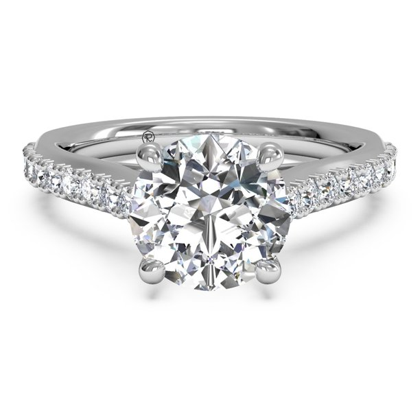 1 1/8 CTW H-VS Lab-Grown Diamond French-Set Diamond Band Engagement Ring With Surprise Diamonds In 18kt White Gold