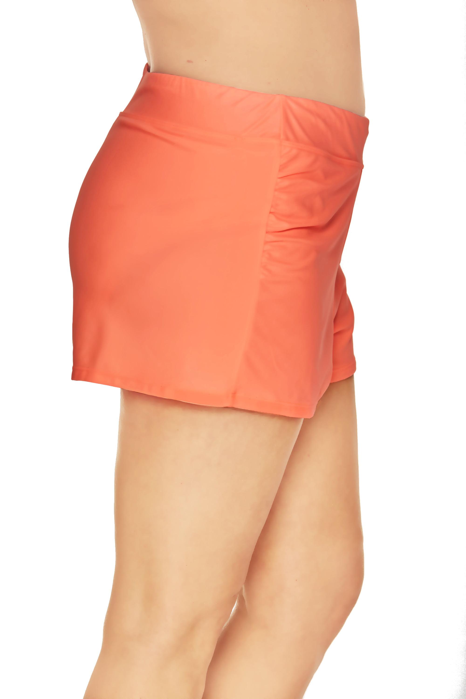 d9e7f15a937 Time and Tru - Women s Plus-Size Full Coverage Shirred Swim Shorts - Walmart .com