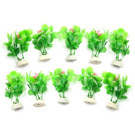 10pcs Green Decor Grass Plants for Aquarium Fish Tank Landscape w Ceramic Base