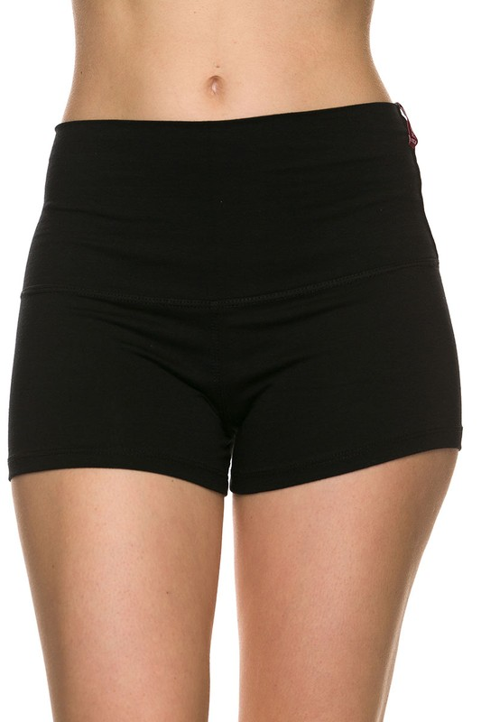 Cali Chic Juniors'  Shorts Solid Fitted Yoga Shorts (Black)