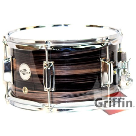 "Popcorn Snare Drum by Griffin Firecracker 10"" x 6"" Poplar Shell with Zebra Wood PVC Soprano Concert Percussion Musical Instrument with Drummers Key and Deluxe Snare Strainer Beginner & Professional"