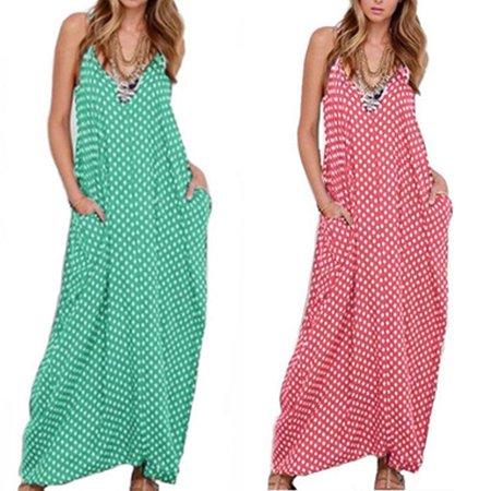 Maxi Scoop - Women's Casual Sleeveless Sundress Scoop Neck Striped Loose Beach Long Maxi Dress