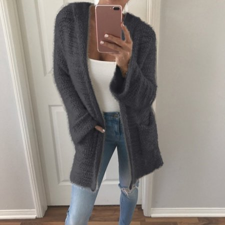 Women Hooded Knitted Cardigan Coat