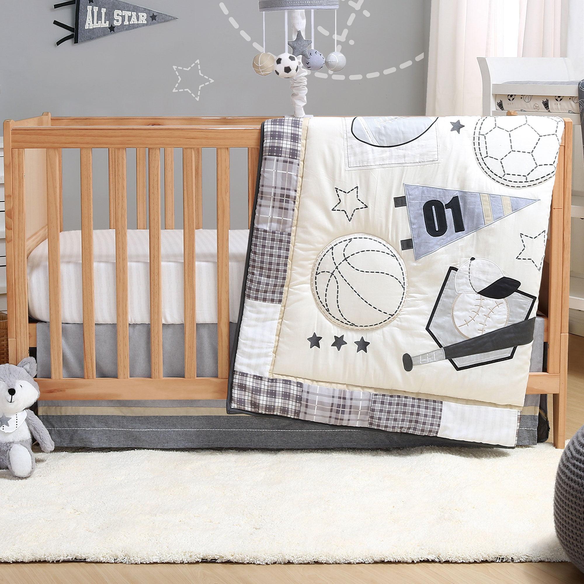 Sports League Grey 3 Piece Baby Boy Crib Bedding Set By The Peanutshell Walmart Com Walmart Com