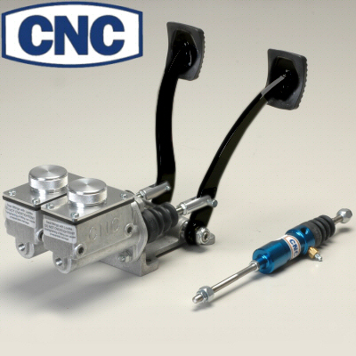 CNC Black Series Silver Pedal Assembly Without Throttle Pedal Rectangular 5/8 Clutch And 7/8 Brake