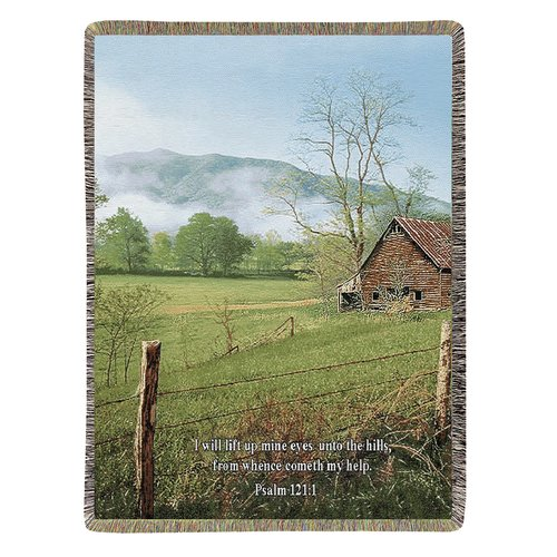 Manual Woodworkers & Weavers I Lift My Eyes Tapestry Cotton Throw