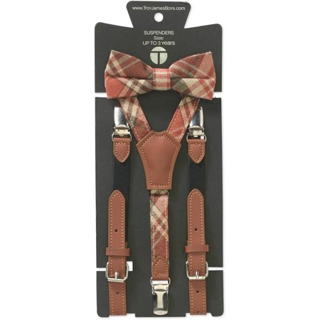 Troy James Genevieve Goings Collection Boys Burnt Orange Bow Tie and Leather Suspenders 2 pc Set