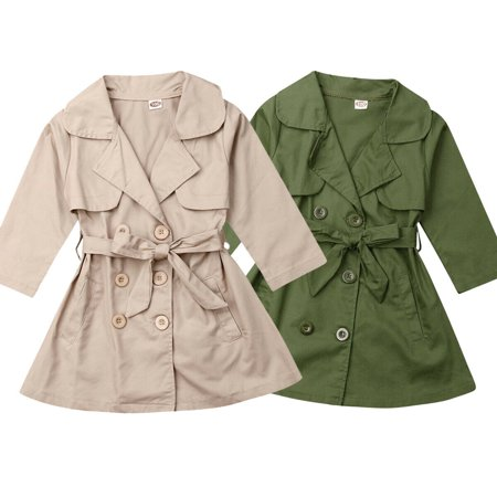 New Kids Girls Long Trench Coat Double Breasted Quilted Button Up Jacket Outwear (Quilted Kids Jacket)