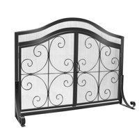 Wrought Iron Fireplace Screen with Doors Large Flat Guard Metal Decorative Mesh Cover Firewood Burning Stove Tools Black