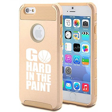Apple iPhone 6 Plus / 6s Plus Shockproof Impact Hard Case Cover Go Hard In the Paint Basketball (Gold),MIP](Go Plus)